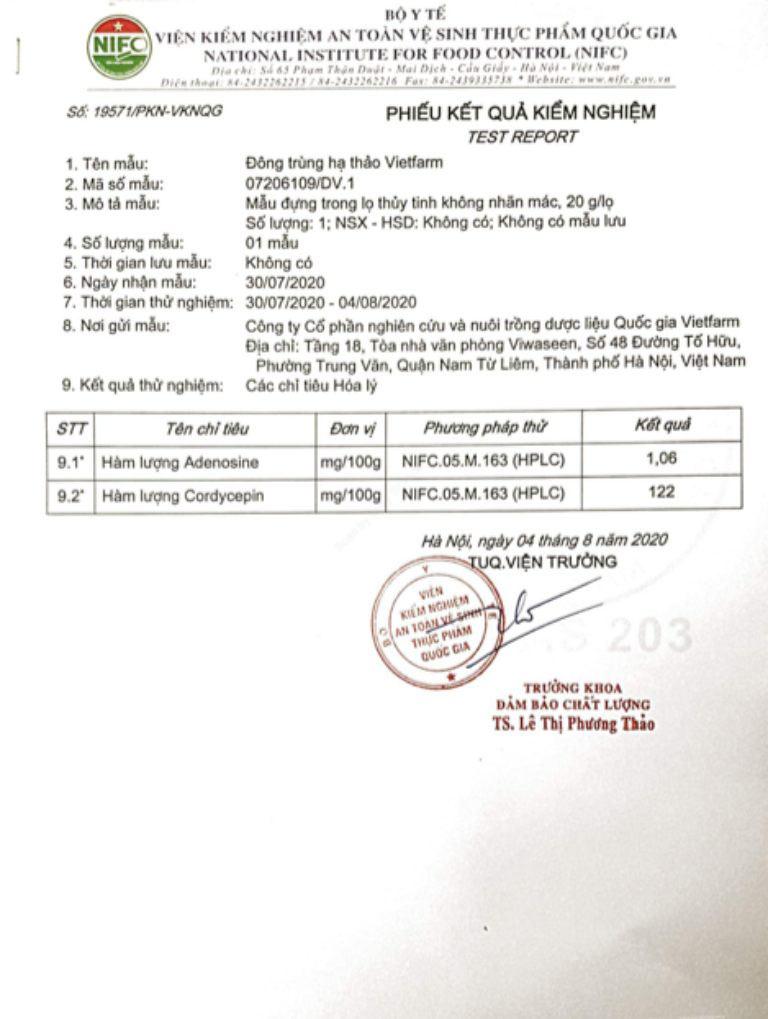 Bộ Y Tế kiểm định hàm lượng hoạt chất có trong đông trùng hạ thảo Vietfarm