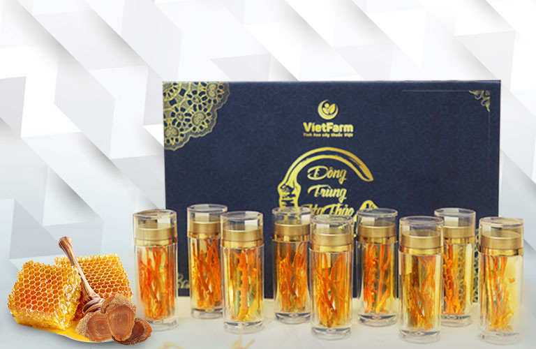 Đông trùng hạ thảo ngâm mật ong và hồng sâm thượng hạng Vietfarm