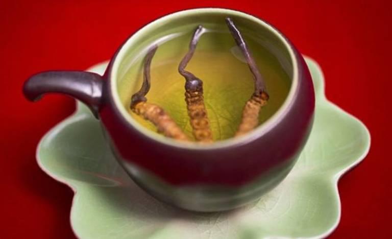 Nhiều người yêu thích lựa chọn đông trùng hạ thảo khô để pha trà