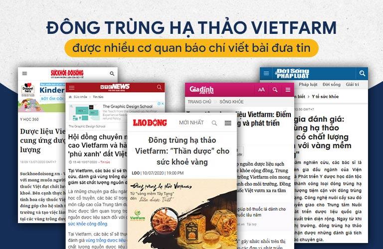 Nhiều thời báo uy tín liên tục đưa tin về đông trùng hạ thảo Vietfarm