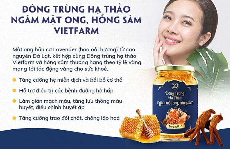 Công dụng của đông trùng hạ thảo ngâm mật ong, hồng sâm Vietfarm