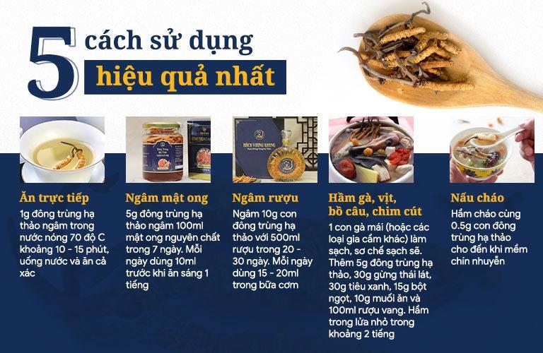 Hướng dẫn các cách sử dụng đông trùng hạ thảo tự nhiên Tây Tạng hiệu quả nhất