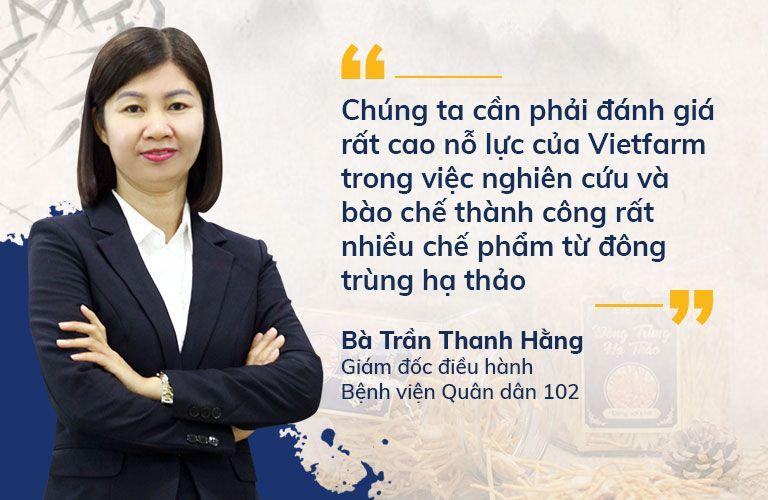 Bà Trần Thanh Hằng đánh giá đông trùng hạ thảo Vietfarm