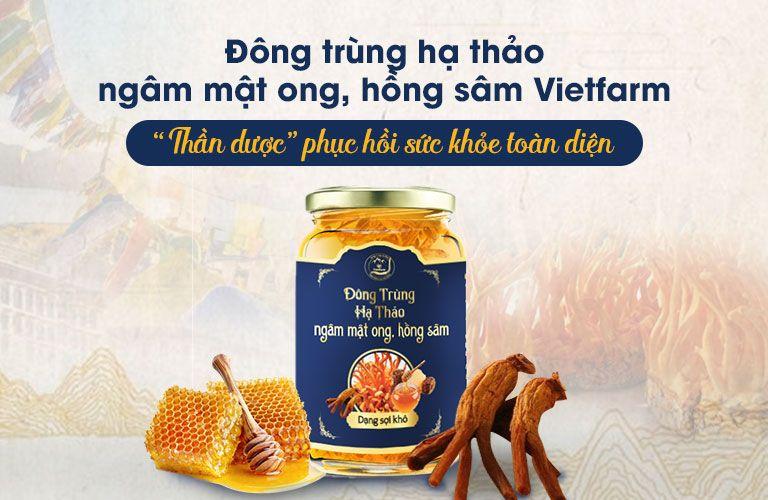 Đông trùng hạ thảo ngâm mật ong, hồng sâm Vietfarm