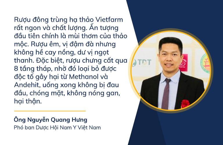 Ông Nguyễn Quang Hưng chia sẻ cảm nhận chân thực sau khi thưởng thức rượu đông trùng hạ thảo Vietfarm