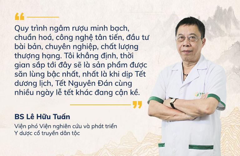 Thầy thuốc ưu tú Lê Hữu Tuấn nhận định chất lượng rượu đông trùng hạ thảo Vietfarm