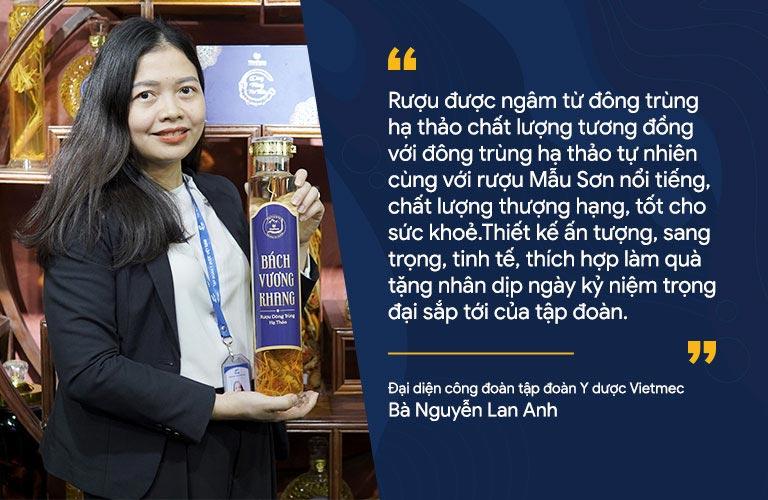 Bà Nguyễn Lan Anh chia sẻ lý do lựa chọn các sản phẩm rượu đông trùng hạ thảo Vietfarm cho sự kiện trọng đại của tập đoàn