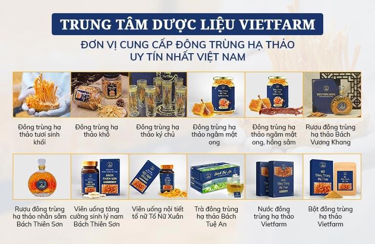 Các sản phẩm của Đông trùng hạ thảo Vietfarm đang cung cấp