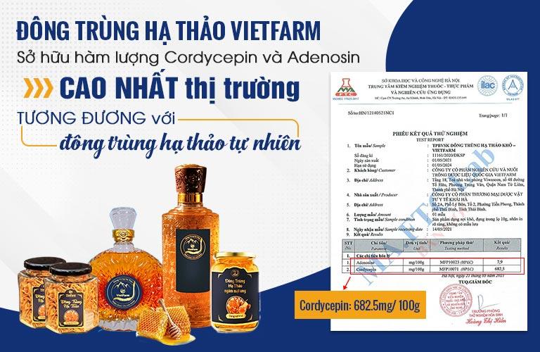 Chứng nhận Đông trùng hạ thảo Vietfarm sở hữu hàm lượng quý hiếm mức cao